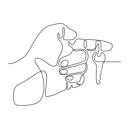 continuous line drawing hand holds the keys to the car or apartment vector illustration sign and symbol