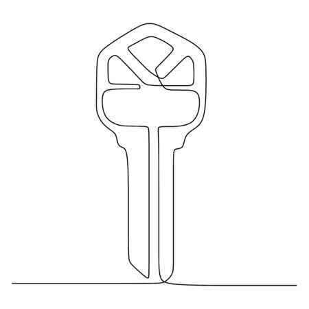 key tool continuous line drawing minimalist vector illustration object minimalism sign and symbol of security