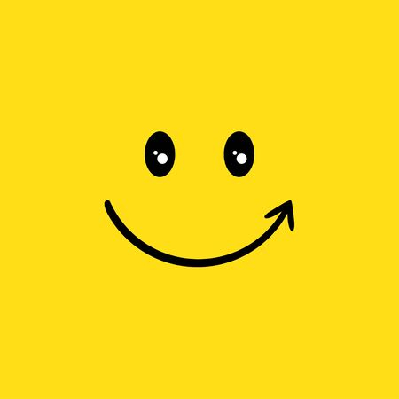 Happy face vector illustration icon smile element yellow color background
