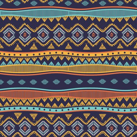 Ancient tribal hand drawn seamless pattern stripes ethnic symbols. Vector illustration ready for fashion textile print. Banque d'images - 129793820