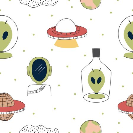 Childish drawing seamless pattern with aliens, ufo in space cosmos cute illustration vector scandinavian style Illusztráció
