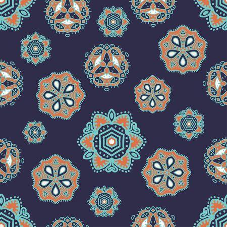 Asian ethnic drawing seamless pattern mandala decoration. Vector illustration ready for fashion textile print.