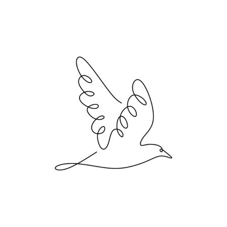 continuous line drawing of pigeon bird flying minimalism