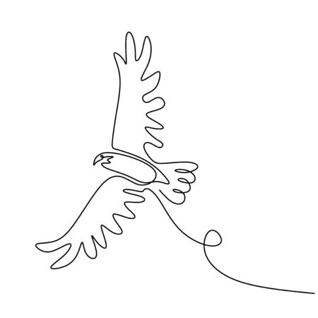 drawing eagle bird flying continuous one line vector illustration minimalism design
