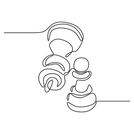 Continuous one line drawing of chess pieces minimalist design isolated on white background. Group of players tactic concept. Çizim