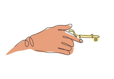 one line drawing hand holds the keys to the car or apartment vector illustration sign and symbol