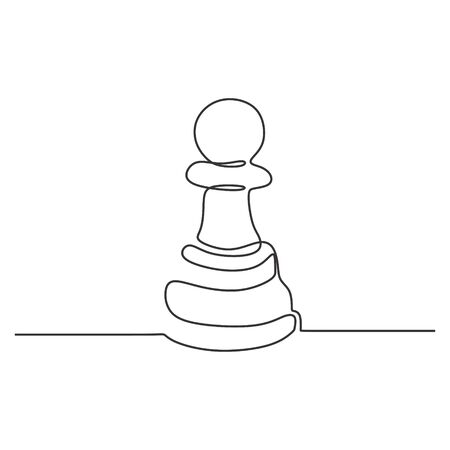 Continuous one line drawing of chess pawn vector illustration. Minimalism design.