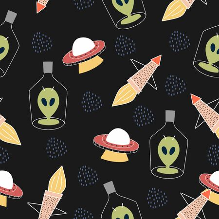 Childish seamless pattern with aliens, ufo in space cosmos cute illustration vector scandinavian style