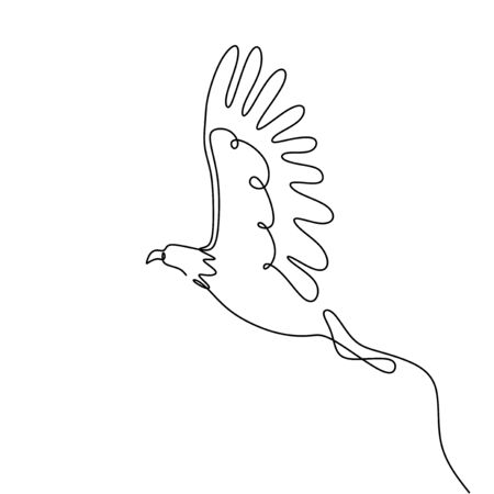 single one line drawing eagle bird flying continuous vector illustration minimalism design