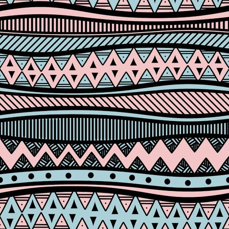 Ethnic seamless pattern with aztec stripes drawing. Vector illustration ready for fashion textile print. Banque d'images - 129793880