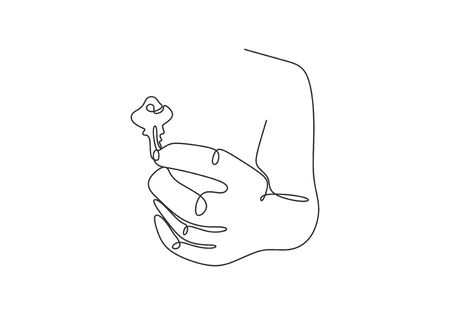 The hand holds the keys to the car or apartment continuous line drawing vector illustration sign and symbol