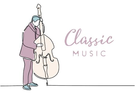 One line drawing of classic music with person playing bowed string music instrument of double bass vector illustration. Иллюстрация
