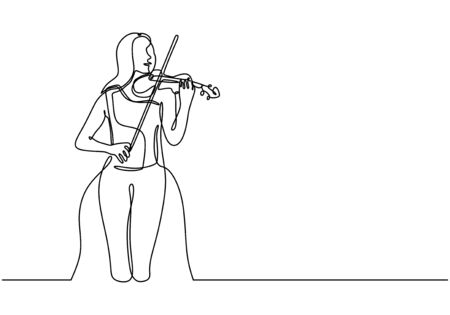 One continuous line drawing of young happy female violinist performing to play violin. Musician artist performance concept single line draw design illustration on music festival concert.
