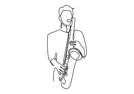One line drawing of person with saxophone music instrument. Jazz, folk, and orchestra theme vector illustration.