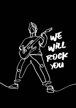 Vector illustration on the theme of rock music. Slogan: we will rock you. Vintage design. Continuous man playing electric guitar. Typography, t-shirt graphics, print, poster, and banner. Illustration