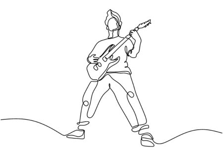 continuous line drawing of a man playing guitar. Man musician vector illustration.Single one hand drawn lineart minimalism. Иллюстрация