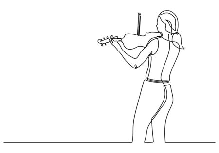 Continuous one line drawing of young girl playing violin vector illustration. Violinist woman performing on the stage.