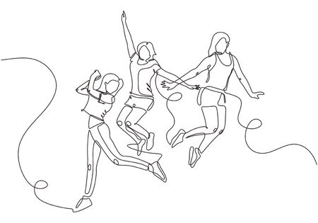 Group of young joyful laughing people jumping with raised hands isolated on white background. Happy positive young men and women rejoicing together. Continuous one line drawing vector minimalism.