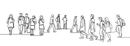 Urban commuters one continuous line drawing minimalism design sketch hand drawn vector illustration. People walking before or after work time on city street.