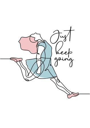 Just keep going motivational quotes poster with girl jump continuous one line drawing minimalism design. Vector illustration simplicity with typography lettering hand drawn sketch lineart.