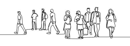 Urban commuters one continuous line drawing minimalism design sketch hand drawn vector illustration. People walking before or after work time.