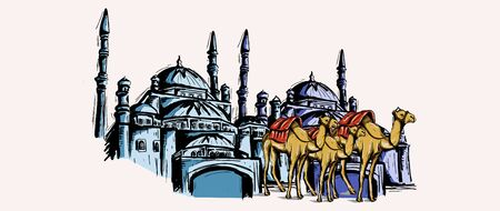 Mosque and camel sketch drawing with watercolor vintage hand drawn.  イラスト・ベクター素材
