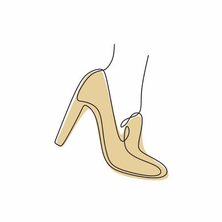 Continuous line drawing of highheel shoe for woman fashion isolated on white background vector illustration