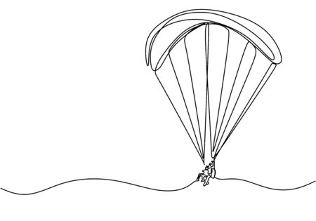 Continuous line drawing of sky parachute sport game. Adventure and adrenaline maker theme concept.