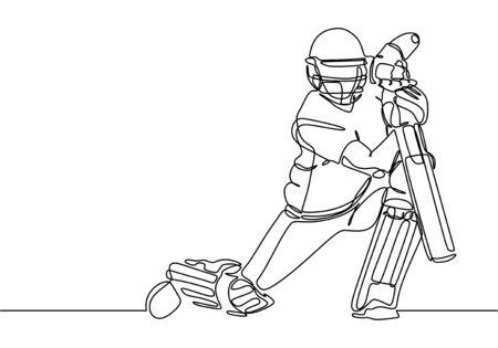 Cricket sport player one line drawing continuous single line art vector illustration minimalism design. Çizim