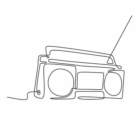 continuous line drawing Old radio music sign of vintage vector one lineart simplicity illustration minimalist design Stock Illustratie