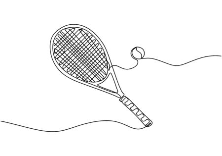 Continuous one line of tennis sport theme with racket and ball. Sign and symbol of sports game.