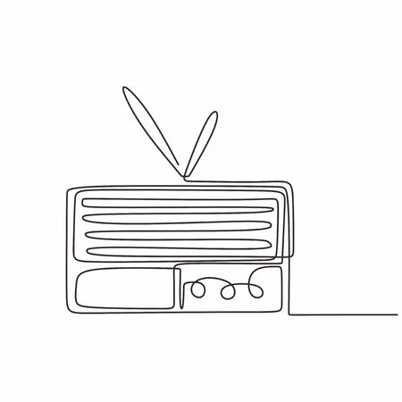 continuous line drawing Old radio music symbols of vintage 90s vector one lineart simplicity illustration minimalist design Stock Illustratie
