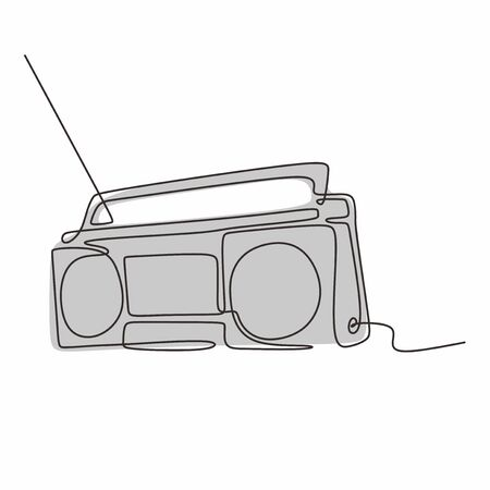 continuous line drawing Old radio vector one lineart simplicity illustration minimalist design