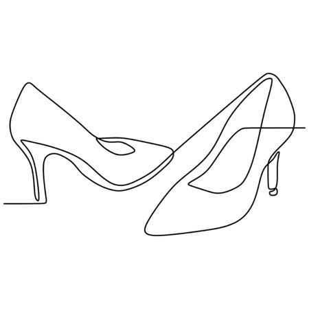 Continuous line drawing of highheels shoes for woman fashion isolated on white background vector illustration