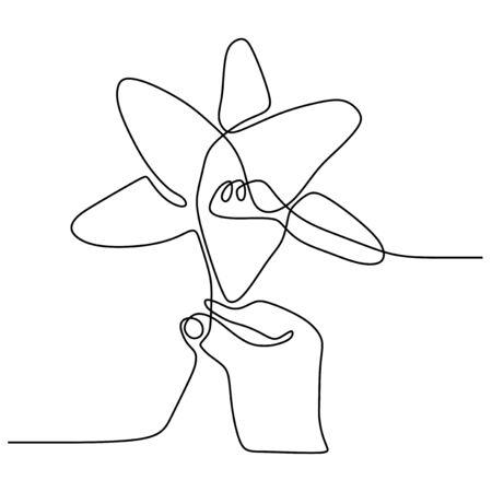 Flor de lirio de dibujo de una línea continua aislada en la ilustración de vector de fondo blanco