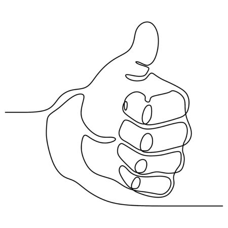 Single line drawing thumbs up hand gesture concept of fine, agree, and okay