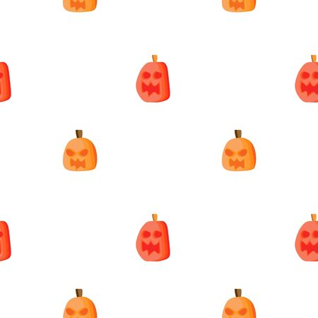 Creative vector halloween pattern with angry pumpkin childish drawing style background vector.