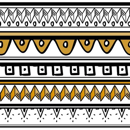 African pattern vector with hand drawn tribal ethnic drawing. Seamless design illustration for fashion textile ready for print