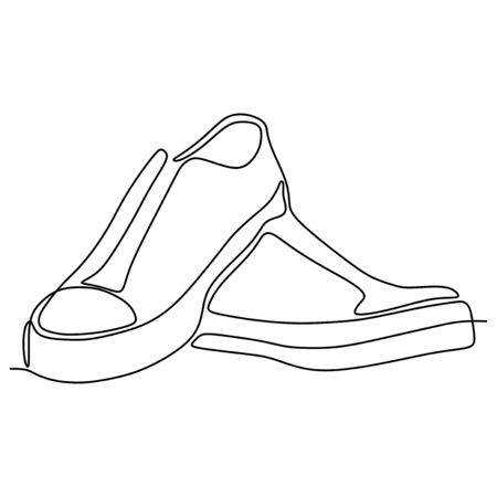 One line drawing of shoes minimalist design vector illustration minimalism style Stock Illustratie