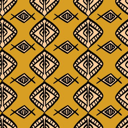 African pattern vector with hand drawn tribal diamond ethnic drawing. Seamless design illustration for fashion textile ready for print