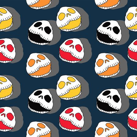Gothic seamless pattern for halloween horror creepy creature of skeleton skull reaper head ghost vector illustration trendy fashion and textile print.