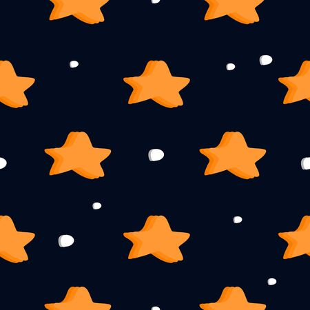Seamless stars pattern with creative childish drawing style. Vector illustration for baby fashion textile with star multicolor ready for print.