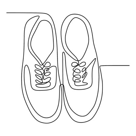 Continuous one line drawing of shoes minimalist design vector illustration minimalism style