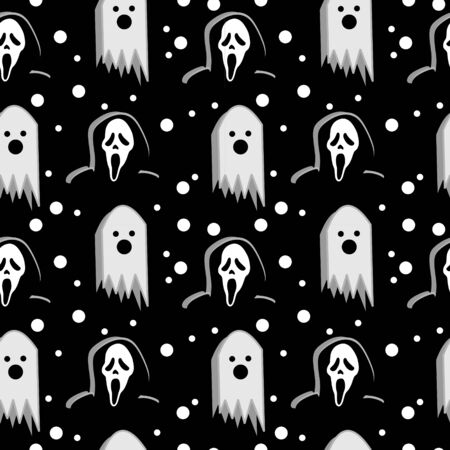 Trendy geometric funny halloween monster with cute horror colorful seamless pattern vector. Creative unusual character for kids and baby textile fashion print illustration background.