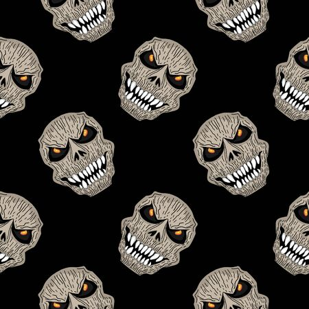 Creepy reaper skull head seamless pattern hand drawn. Spooky creature halloween monster vector illustration isolated on black background for fashion print and wrapping. Banco de Imagens - 130471378