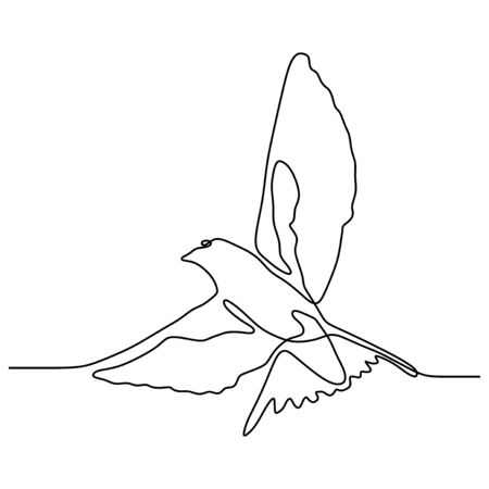 continuous one line drawing of swallow bird flying minimalism
