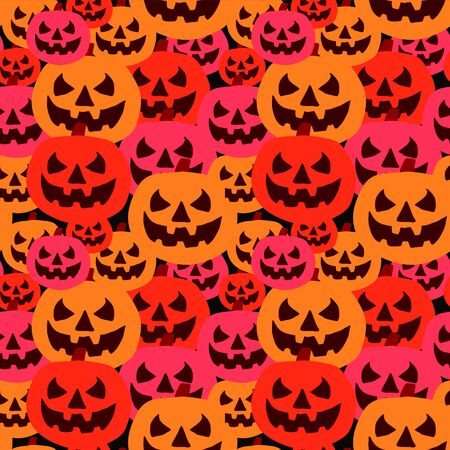Mound of cute pumpkin with happy colorful halloween theme background seamless pattern. Vector illustration ready for children fashion print and wrapping.