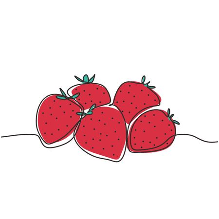 Continuous one line drawing of strawberry fruits vector illustration. Healthy food concept. Stock Illustratie