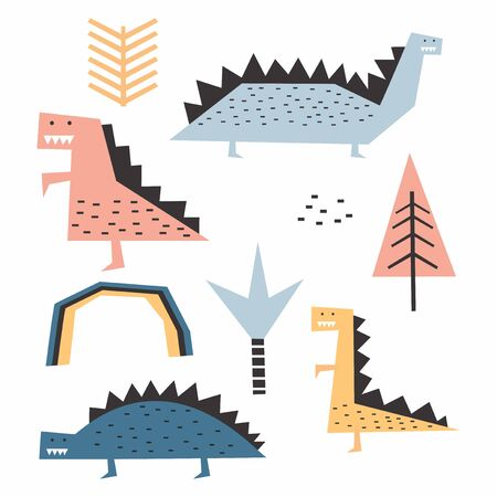 dinosaur scandinavian drawing set design vector illustration pack collections. Funny nursery style for kids and baby fashion.
