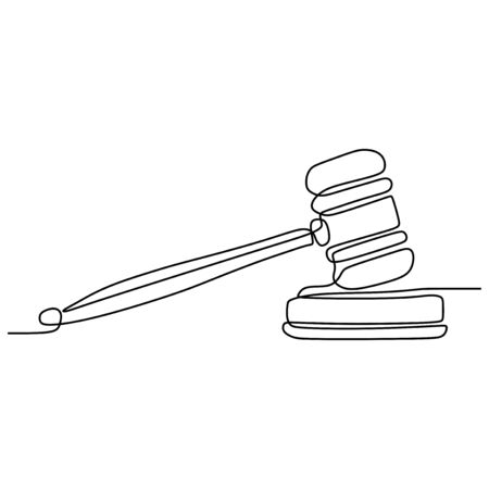 one line drawing of judge hammer law symbol continuous hand drawn sketch minimalist design vector illustration